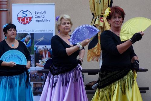 6....Sport. hry seniorů, Liberec SENIORKY  tančí,v pozadí nové logo -rollap